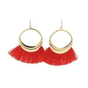 NEW! Kinsley Armelle Cherry Red Fringe Earrings